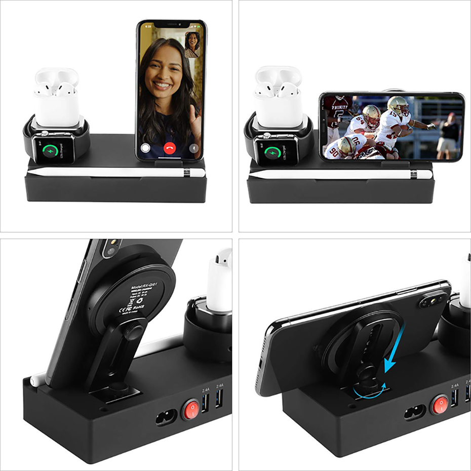 Multi Function Nightstand QI Wireless Charger For Iphone  Samsung Charger Stand For Airpods Apple Watch USB Charger Dock Station (2)