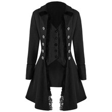 LASPERAL Women Autumn Winter Lace Trim Long Medieval Jacket Gothic Lady Cosplay Solid Long Sleeve Three-Breasted Irregular Tops