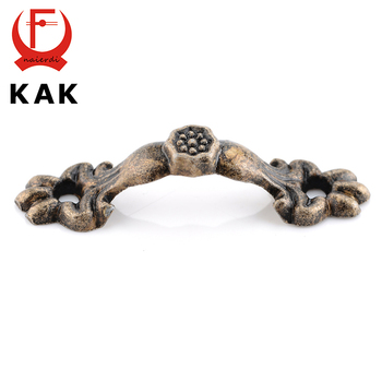 KAK 10pcs 43*10MM Box Handle Zinc Alloy Knobs Arch Tracery Bronze Tone For Drawer Wooden Jewelry Box Furniture Hardware