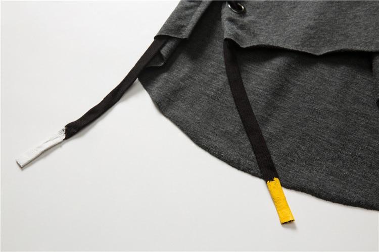 ABOORUN Men's Hip Hop T-shirt Rule Ribbons Decoration Printed Tees High Street Original Loose Short Sleeve Shirts for Male R149 38