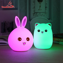 USB Rechargeable LED Night Light Cartoon Animal Cat Soft Silicone Breathing Kids Room Nursery Lamp for Christmas Children Gift