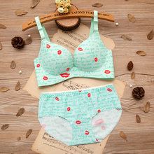7d87bb36e1 Baharcelin ABC Cup Sexy Woman Young Girl Smalll Chest Bra French Romantic  Gathered Bra Printed Lips