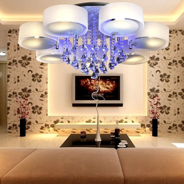 Modern Crystal Romantic LED Color Ceiling Light Living