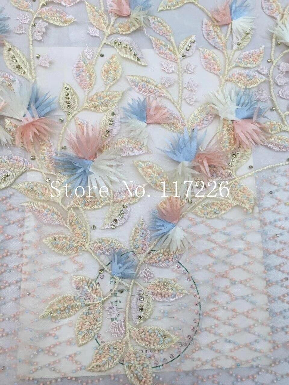 3d fleur de luxe brodé tulle dentelle tissu de haute qualité africain français net dentelle tissu JRB-17008 avec des perles - 6