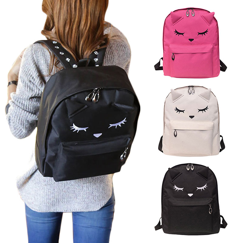 Cute Cartoon Embroidery Cat Printing Canvas Backpack College Style Casual Bag For Teenage Girls LBY2017