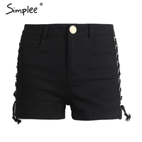 Simplee Sexy Side Lace Up Denim Shorts Women Hollow Out Pocket White Short Jeans Summer 2017