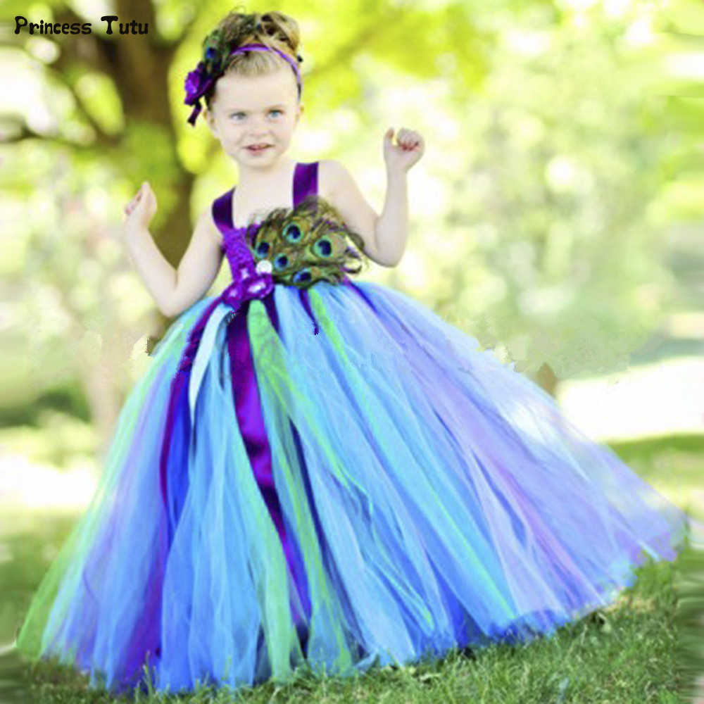 Peacock Princess Tutu Dress Flower Feathers Girl Party Dress Kids Pageant  Ball Gowns for Girls Wedding 9fa0cf5a0800