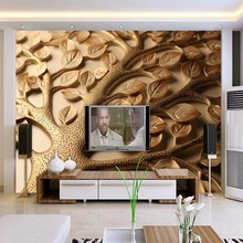 3D Wallpaper Modern Abstract Relief Leaves Wall Painting