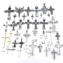21714 Винтаж простой Религия Крест Иисуса крылья шармы металлический