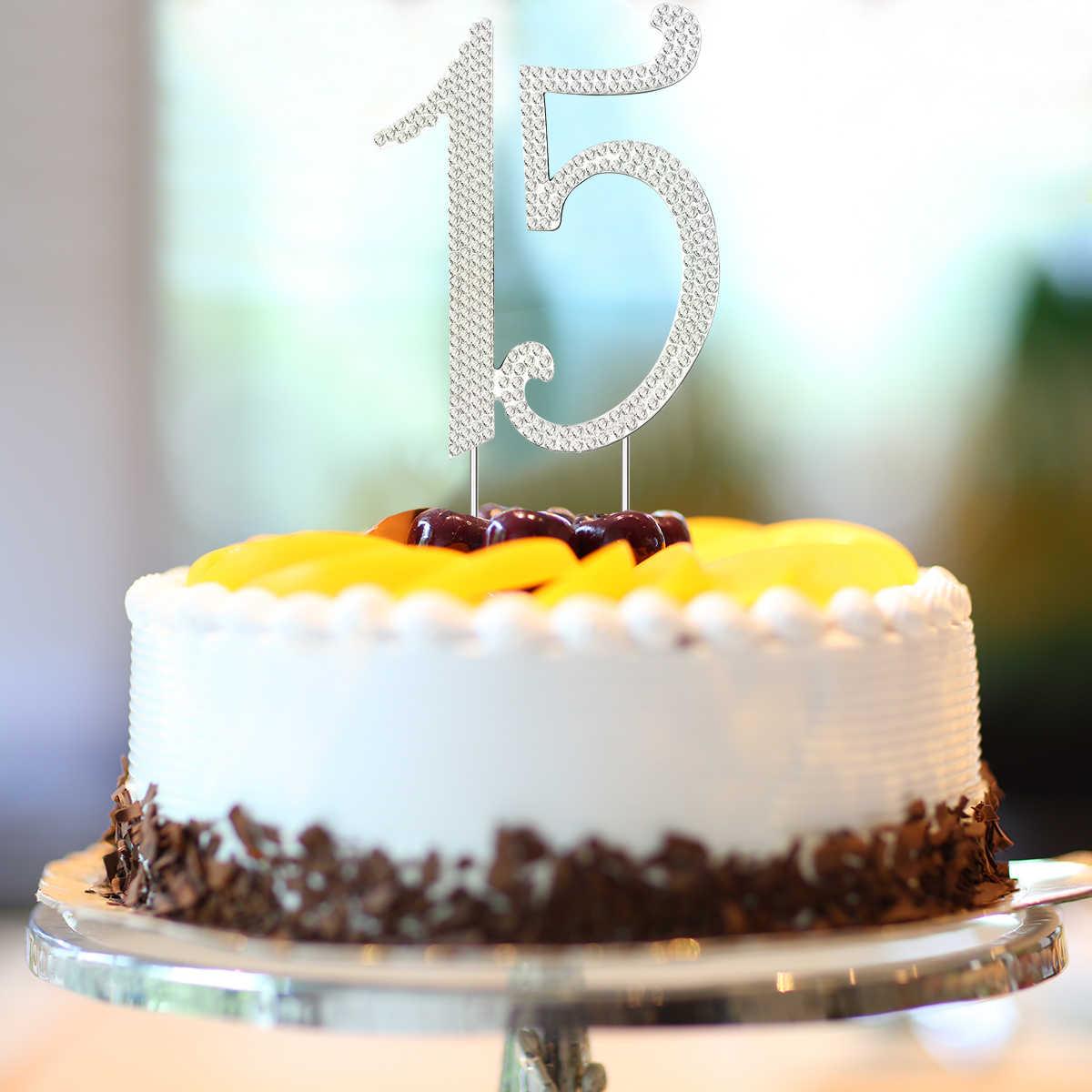 Fantastic 15 Cake Topper For 15Th Birthday Party Or Anniversary Crystal Funny Birthday Cards Online Elaedamsfinfo