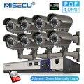 MISECU 8CH 4MP Cámara sistema de seguridad H.265 cámara IP POE 2,8-12-12mm a mano lente Zoom impermeable al aire libre de vídeo kit de vigilancia de