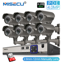 MISECU 8CH 4MP безопасности Камера Системы H.265 POE IP Камера 2,8-12 мм Maunally зум-объектив Открытый Водонепроницаемый комплект видеонаблюдения