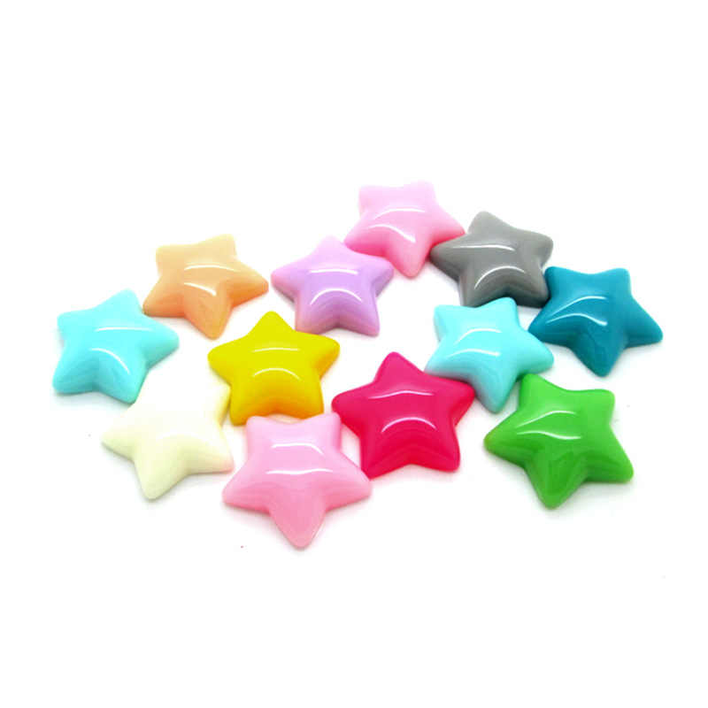 LF 50Pcs Mixed Resin Star Decoration Crafts Flatback Cabochon Embellishments For Scrapbooking Kawaii Cute Diy Accessories 16mm