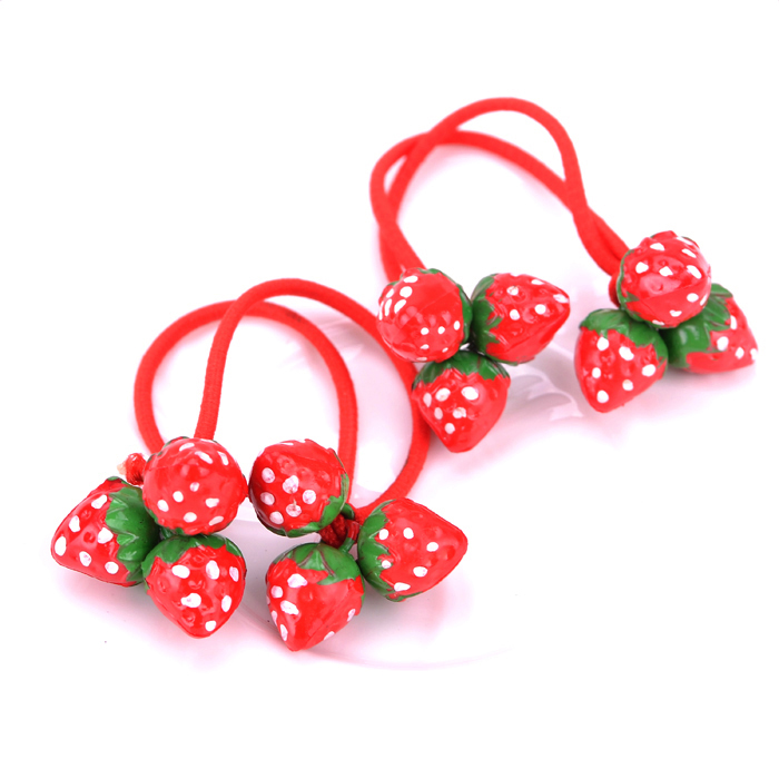 1 pairs Children Strawberry Elastic Hair Bands Baby Hair Rope Girls Elastic Rubber Bands