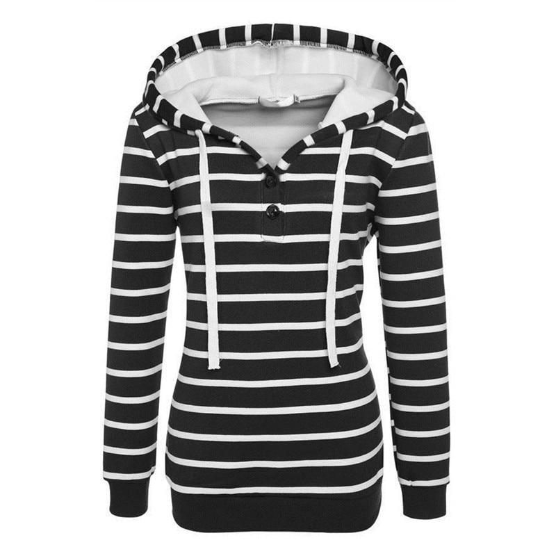 BBYES 2017 Women Hoodies Striped Autumn Warm Hoodies Casual Slim Hooded Long Sleeve Winter Outwear Sweatshit Pullovers Jumper