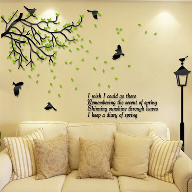 Fresh Green Tree and Street Light Acrylic Stickers Beautiful Living ...