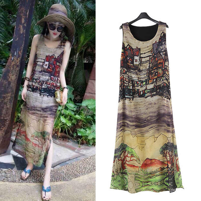 Boho Loose Maxi Summer Dress Plus Size Dresses For Women 4X 5X 6X Print  Sleeveless Chiffon Long Beach Dress Vestidos Robe Femme