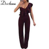 Dear Lovers Ruffle One Shoulder Party Jumpsuit Elegant Long Burgundy Overalls For Women Solid Sexy Club