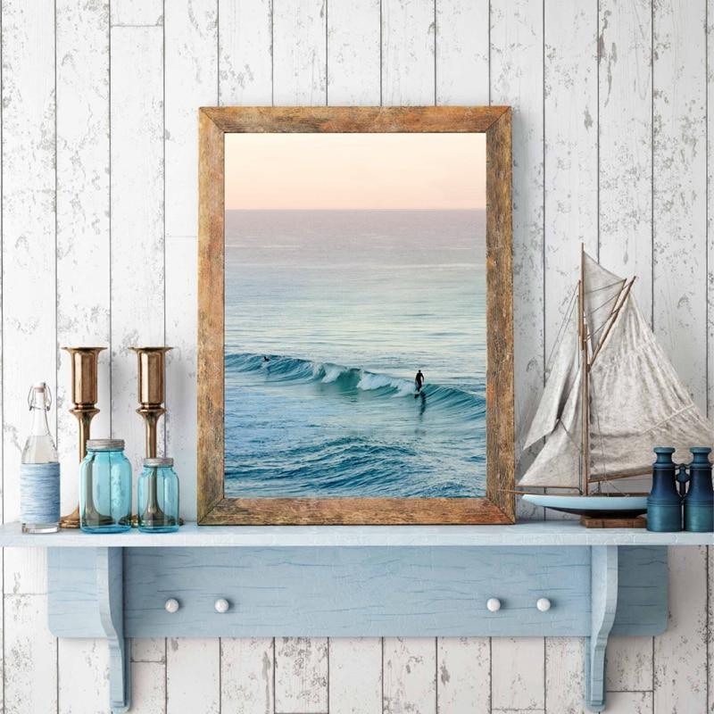 Poster Ocean Sea Wave Beach Surfing Room Art Wall Cloth Print 9