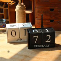 EZONE Vintage Wooden Table Desk Calendar Wood Block Planner Permanent Desktop Organizer Black White Agenda Material
