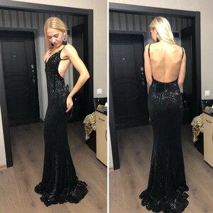 Image 3 - Sexy col en V Champagne or robe Maxi pailletée étage longueur robe de soirée sans manches bretelles dos nu longue robe de sirène