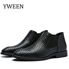 YWEEN Men Chelsea Boots Classic Fashion Hand Knit Shoes Tall Style Mens Big Size 38-48