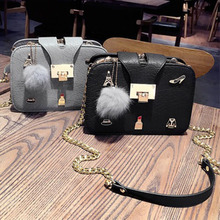 hot new small square bag trend shoulder fashion casual fur ball ornaments handbags chain clip Messenger