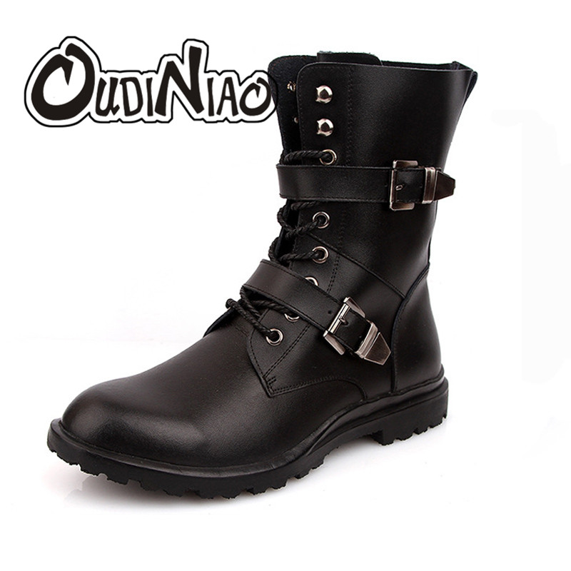 OUDINIAO Classic Split Leather Pointed Toe Warm Plush Ankle Men Boots Buckle Lace Up Designer Fashion Winter Boots Men Big Size oudiniao classic split leather pointed toe warm plush ankle men boots buckle lace up designer fashion winter boots men big size