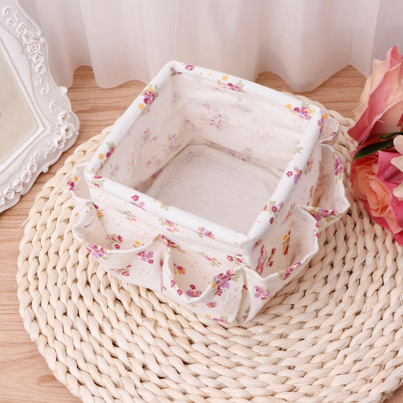 Floral Pattern Multifunction Organizer Desktop Makeup Storage Box Basket Cosmetic Organizer Toiletries Porta Joias Jewelry Case