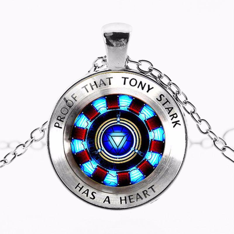 Hot Toys Marvel Legends Iron Man Tony Stark Necklace Avengers 4 Endgame Tony Stark Arc Reactor Printed Glass Gem Bracelet Gifts