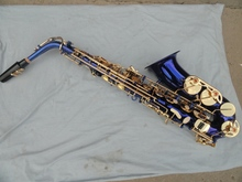 Wholesale Very good gift –Alto saxophone blue gold plated Saxophone high F # brass music instruments
