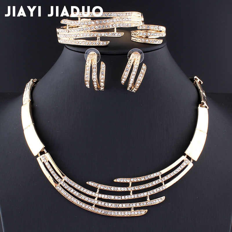 jiayijiaduo African jewelry set for women's wedding Necklace earrings bracelet ring set Gold color crystal classic necklace set