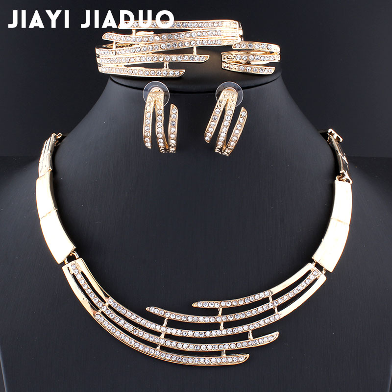 Hochzeits- & Verlobungs-schmuck Brautschmuck Sets FleißIg Jiayijiaduo Afrikanischen Schmuck-set Für Frauen Hochzeit Halskette Ohrringe Armband Ring Set Gold Farbe Kristall Klassische Halskette Set