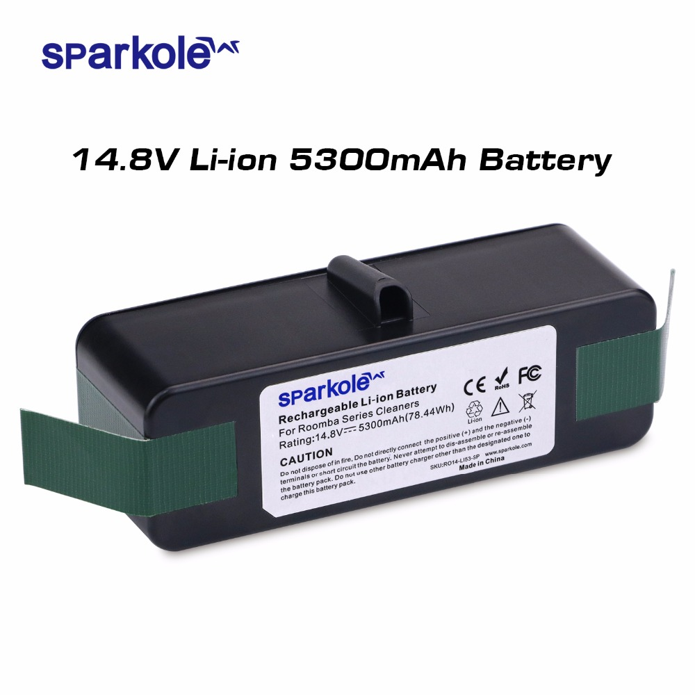 Sparkole 14.8V 5300mAh Rechargeable Battery Pack Lithium-ion Battery for iRobot Roomba Vacuum Cleaner 500 600 700 800 Series free shipping 48v 15ah battery pack lithium ion motor bike electric 48v scooters with 30a bms 2a charger