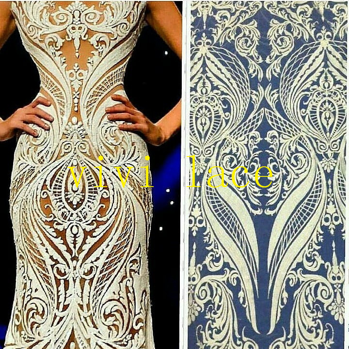 MX003 sexy fashion show black ivory embroidery french tulle mesh lace for stage  show wedding evening dress party 631e553deb15