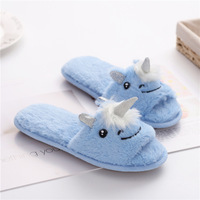 New Blue Unicorn Slipper Flat With Plush Slipper Winter Panda Anti Slip House Slippers Indoor Floor Fur Shoes Pantoufle Licorne