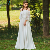 Dressv Ivory Wedding Dress Off The Shoulder A Line 3 4 Sleeves Bridal Zipper Up Elegant
