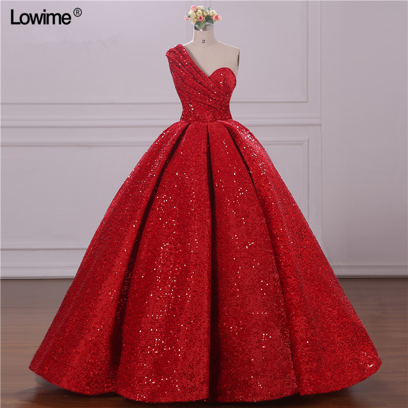 Real Photo Red Sparkly Evening Dresses Ball Gown Plus Size One Shoulder Backless Sexy Evening Prom