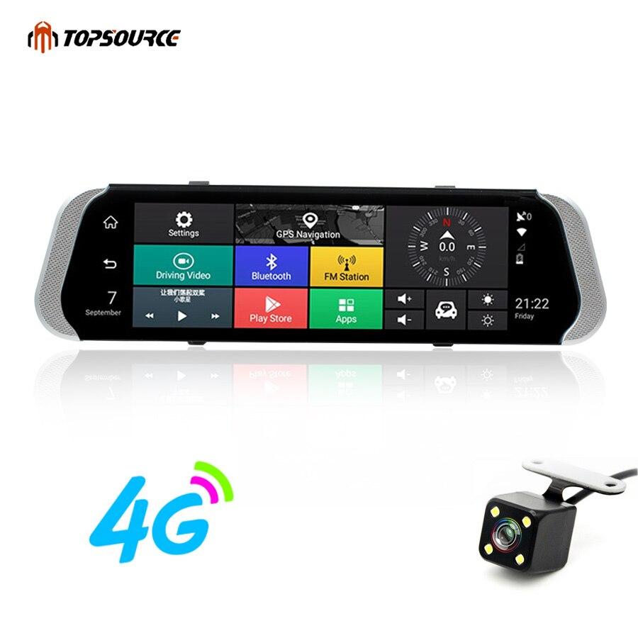 TOPSOURCE DVR de voiture 10 3G/4G Double lentille Android Rétroviseur DVR 1080 P enregistreur vidéo Dash cam ADAS GPS WIFI Smart camera de voiture