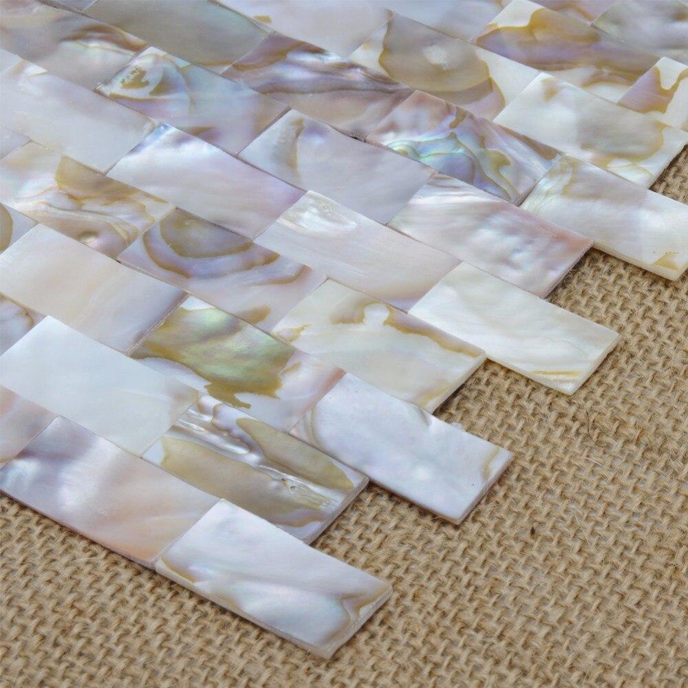 Natürliche Perlmutt Auster Mini Ziegel Shell Mosaik Fliesen für Bad ...