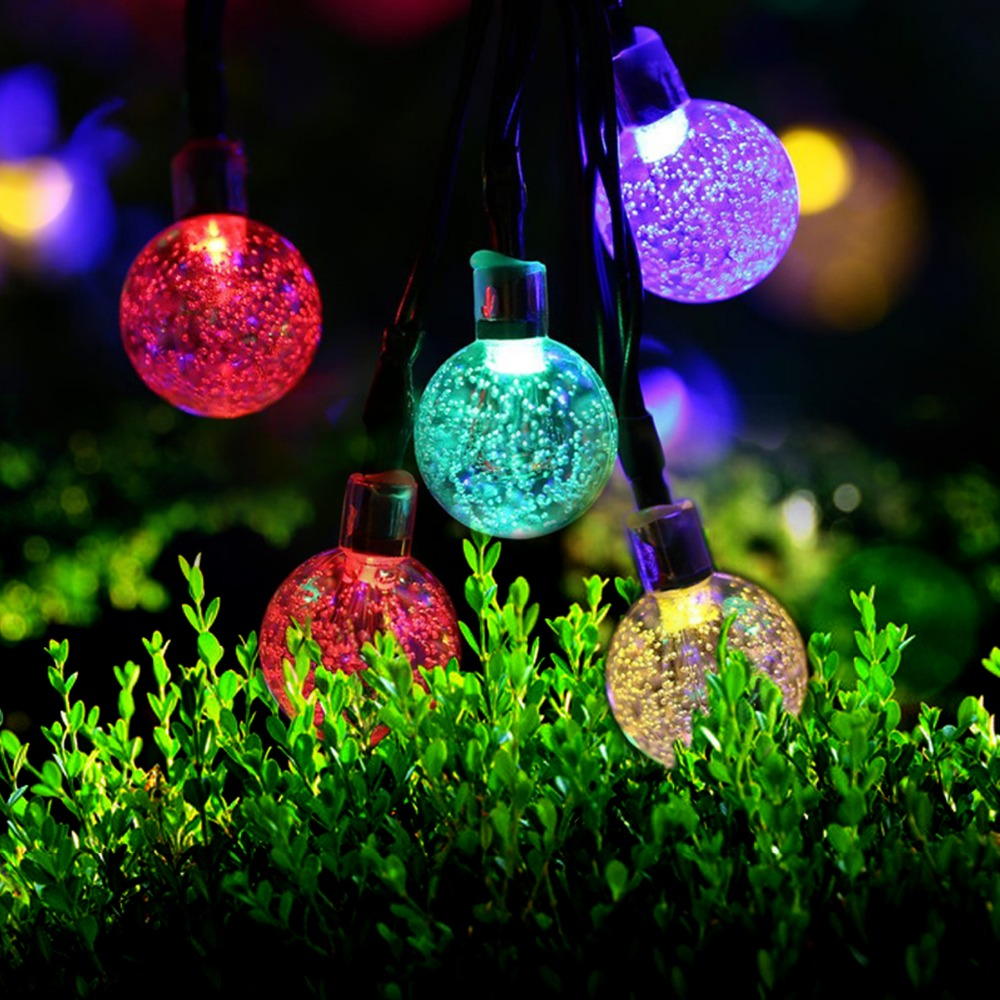 5m 30 Led Ball solar string light garden Led christmas lights wedding decor garland water outdoor solar powered lamp