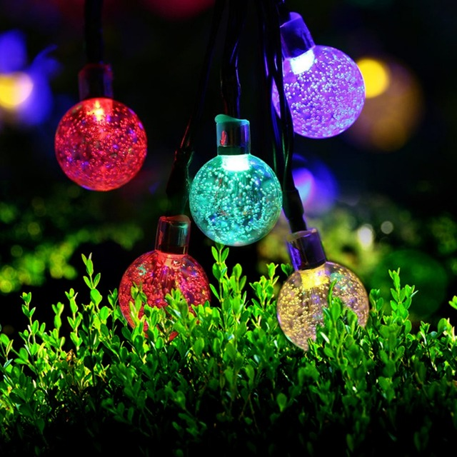 5m 30 Led Ball solar string light garden Led christmas lights ...