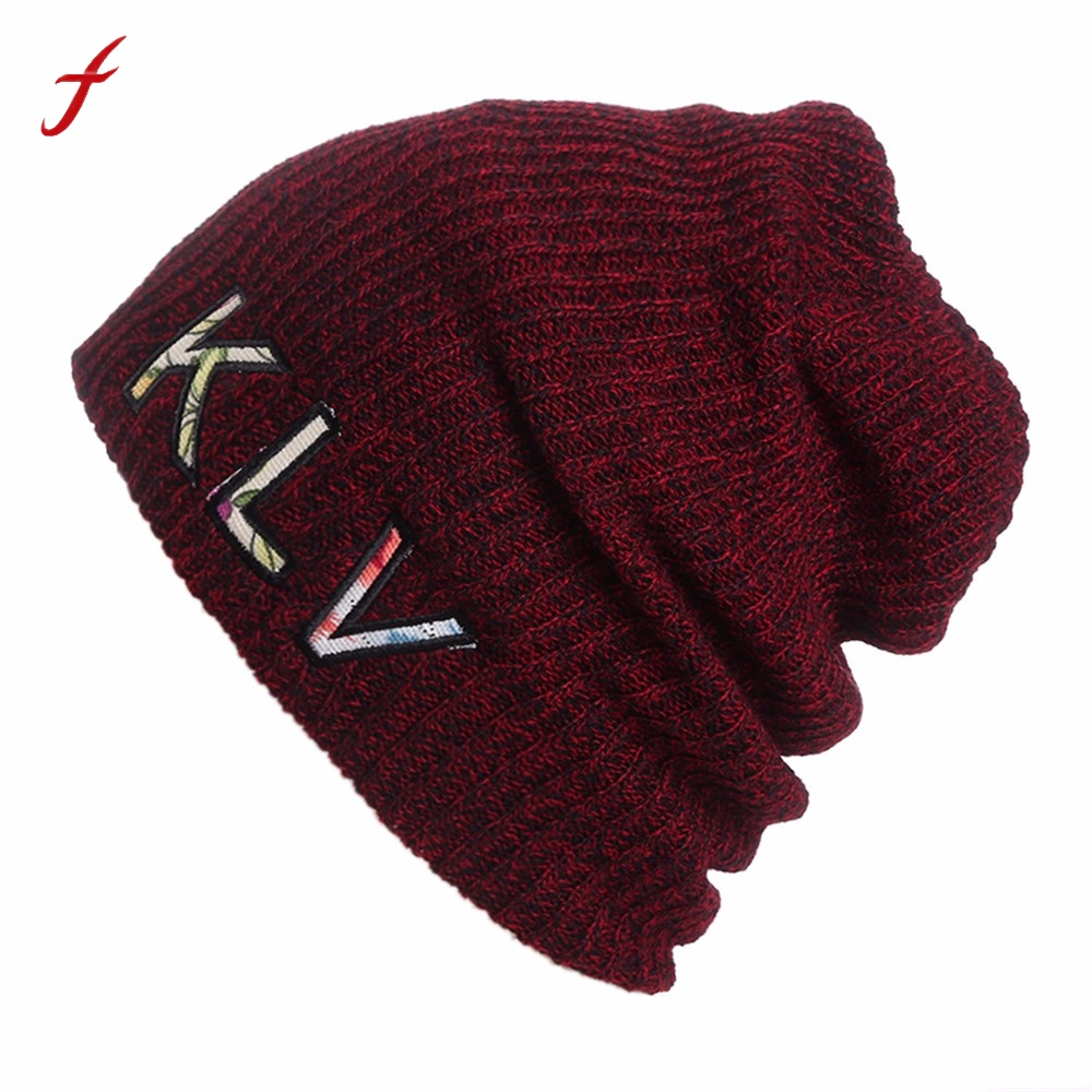 2017 New Fashion Winter Warm Men Women Baggy  Crochet Wool Knit Ski Beanie Skull Slouchy Caps Hat Thick Female Cap Hats For Wome pentacle star warm skull beanie hip hop knit cap ski crochet cuff winter hat for women men new sale