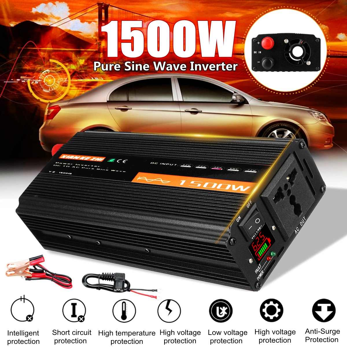 <font><b>1500W</b></font> Pure Sine Wave <font><b>Inverter</b></font> DC12V/24V/48V To AC220V 50HZ Power Converter Booster For Car <font><b>Inverter</b></font> Household DIY image