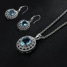 Модное круглое ожерелье с морской синей огранкой из циркона для женщин, серебряная цепочка со стразами ожерелье, свадебные ювелирные изделия Z3D246