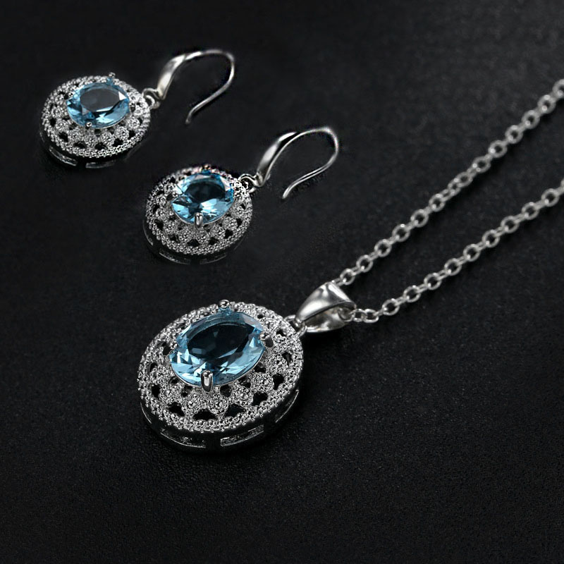 Fashion Round Circle Sea Blue Cut Zircon Pedant Necklace For Women Silver Color Chain Crystal Necklace Wedding Jewelry Z3D246
