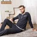 Qianxiu pijama estilo casual para homens o pescoço new autum populares cor Pijama Terno de Seda de Algodão Conjuntos de Pijama Homem Cozy Sleepwear 1693D