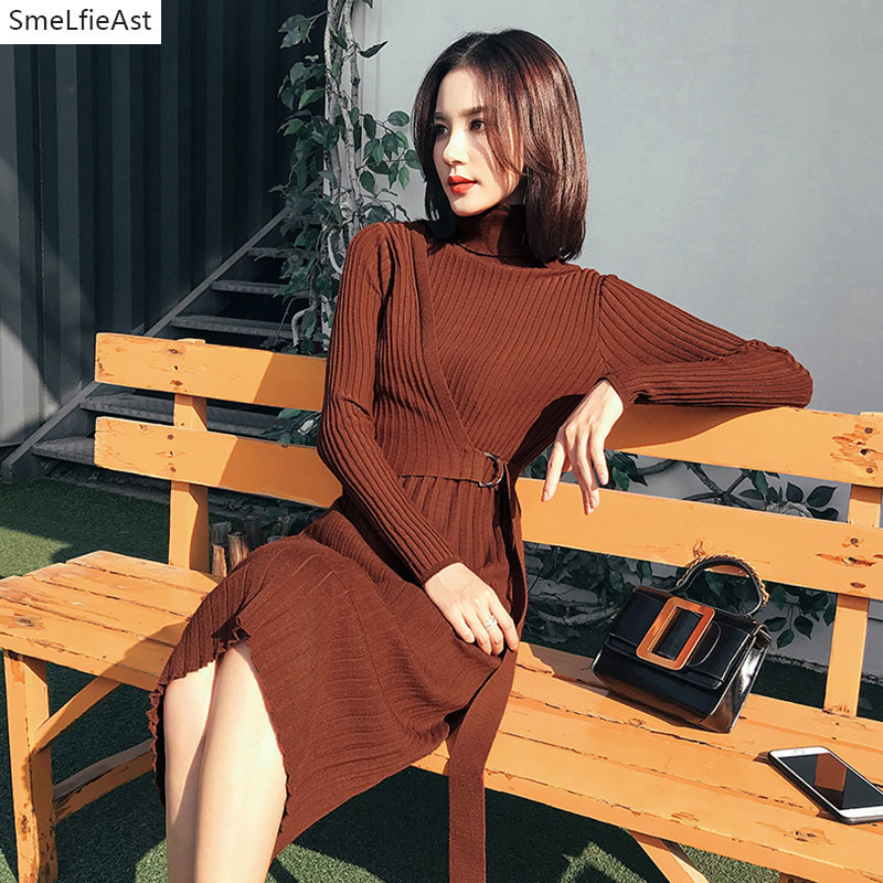 2018 New Women Long Autumn Turtleneck Slim Fashion Female Sweater Dress Knitted Mid-cat Empire Sashes A-line Office Lady Dresses