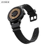 EUTOUR Mens Watch Magnetic Ball Watch Silicone Leather Steel Strap Quartz Unique Wristwatch Mens For Blindman 2019 zegarek meski
