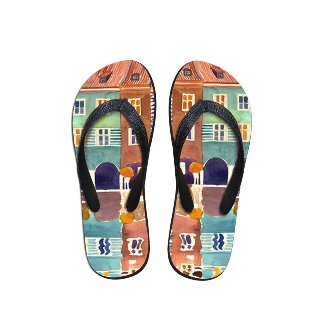 House Men's Flip Flops Beach Shoes Outside Village Painting Sandals Flops Sandals Man Summer Simple Design Flop